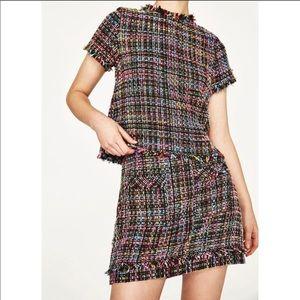 Zara rainbow colored tweed mini skirt